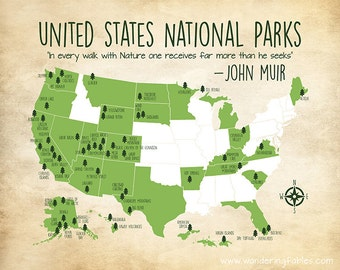 National Park Map Etsy - Map of national parks in united states