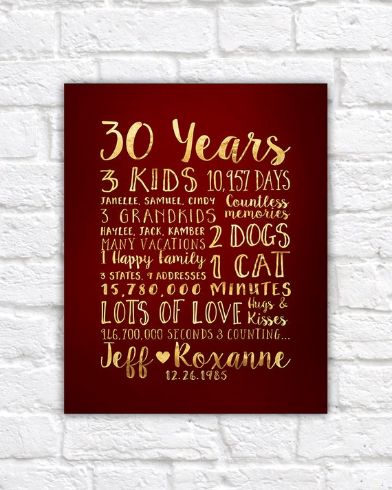 30 Year Anniversary Gift Gift For Parents Anniversary Kids