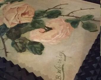 Vintage Painting Tramp Art Roses