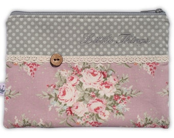 Zipper pouch, cosmetic bag Tilda roses