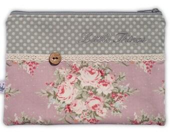 Zipper pouch, cosmetic bag Tilda roses