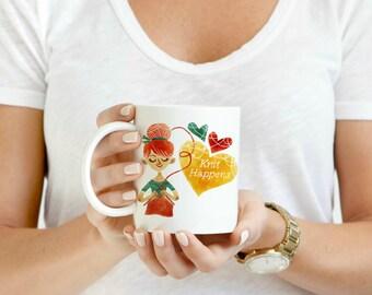 Knit Happens 11oz or 15 oz Coffee Mug
