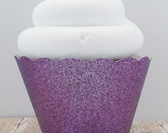 Purple Glitter Cupcake Wrappers, Dessert Holders - Standard and Mini Size - Birthdays, Weddings, Showers - Dessert Table - Set of 12