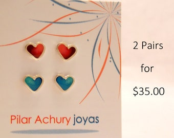 Stud earrings set of 2 pairs -  Sterling Silver Ear Studs - Heart stud set -  Spring -  Valentine's Day - Color combination -Red - turquoise