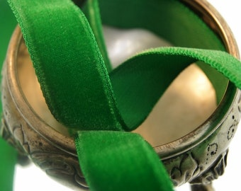 Vintage French Velvet Ribbon Wholesale 16mm Christmas Green Velvet Ribbon by the yard Jewelry Ribbon Craft Embellishments #91 Made in France