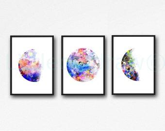 Moon Print Rainbow Moon Phase Print Set of 3 Watercolor Prints Luna Minimalist Lunar Phases Moon Art Home Decor 3 Art Prints Unframed