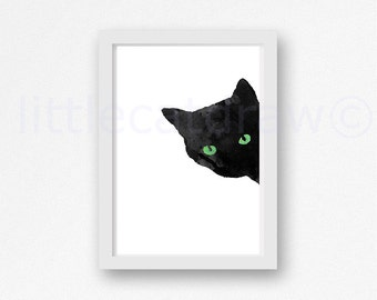 Black CAT with Green Eyes Art Print Watercolor Cat Art Black Cat Watercolor Painting Print Watercolour Wall Art Watercolor