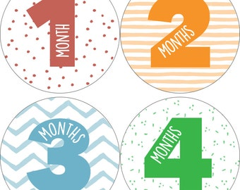 Monthly Onesie Stickers, Baby Shower, Baby Gift, BABY BOY, Stickers, 1-12 months,