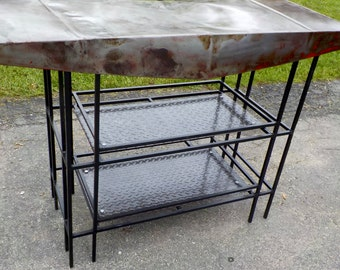 Vintage Handmade Industrial Style Kitchen Island, Bar or Side Table