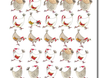 Multi Chicken Christmas Card