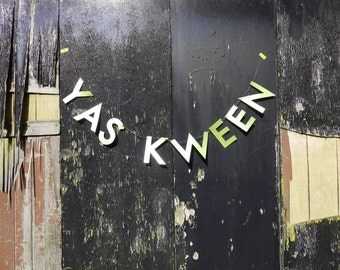 YAS KWEEN Broad City letter banner - home decor paper garland in pearlised pastel green