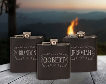 6 oz. Black Stainless Steel Personalized Flask, Custom Engraved Gift