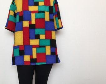 Vtg color block print top