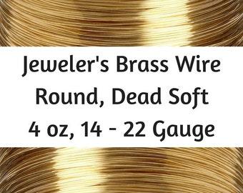 4 oz Jeweler's Brass Wire, 14, 16, 18, 20, 22 Gauge Brass Wire, Red Brass Wire, Dead Soft, Round, 18 gauge brass wire, 20 gauge bras