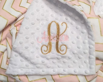 Pink and Gold Chevron and Minky Dot Baby Blanket