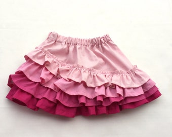 Pink Baby Skirt - Ruffled Skirt - Asymmetrical - Girls Skirt - Toddler skirt - Baby Skirt -  Size 0-3 months to girls size 12