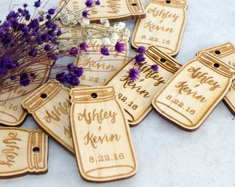 Mason Jar Wood Tags for Wedding Favors, Table Decorations, Save The Dates and More. Custom Wood Tags, Gift Tags, 2x1""