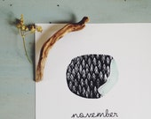 2016 calendar hand printed botanical wall calendar Christmas gift for nature lover