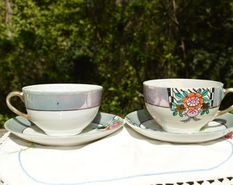 Takito Japanese porcelain teacups and saucers