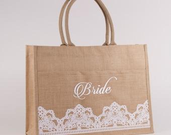 Bride Jute Burlap Tote Bag -  Personalized Vinyl Lettering