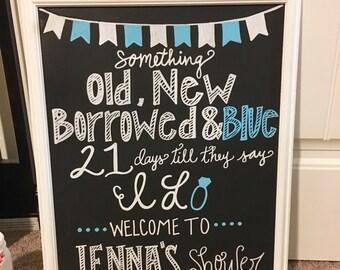 Chalkboard bridal shower wedding sign old new borrowed and blue