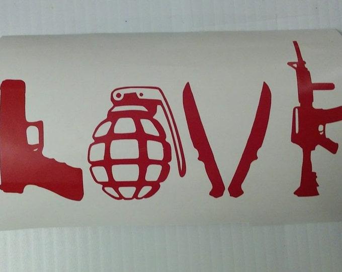 Weapons Love Vinyl Decal