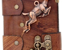 Jumping Wild Deer Pendant Handmade Brown Leather Journal With Lock / Sketchbook / Leatherbound / Notebook / Pocket Diary / Sketchpad