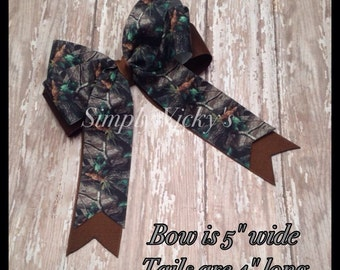 Camo Hair Bow with Tails