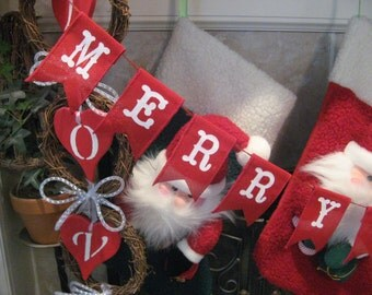 Merry Christmas Banner, Red burlap banner, Burlap banner, Christmas banner, Holiday decor, Christmas mantle decor, mantle banner