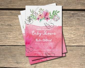 Floral Pink Water Color Bridal Shower Invitation // Modern Bridal Shower // Water Color // Water Colour // Printable Shower Invite