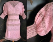 60s Hand Knit Dress / 60s Crochet Dress / fits S to M / vintage pink dress /  vintage knit and crochet dress /