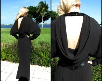 Frank USHER Gown / fits S-M Uk 12 / Vintage Frank Usher Gown / Frank Usher Beaded Gown / Black Beaded Gown