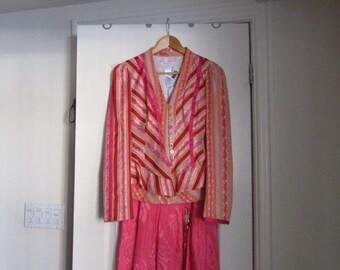 1990s Christian Lacroix Pink 3 Piece Suit Peplum Jacket Camisole Skirt Size 38