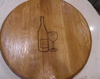 French Oak Wine Barrelhead Lazy Susan, Engraved Wine Bottle and Glass Pattern, Home Decor, House Warming, Dining, Serving
