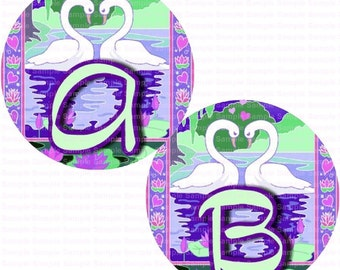 Alphabet Swans on the Lake Bottle Cap Images 4x6 Bottlecap Collage Scrapbooking Jewelry Hairbow Center