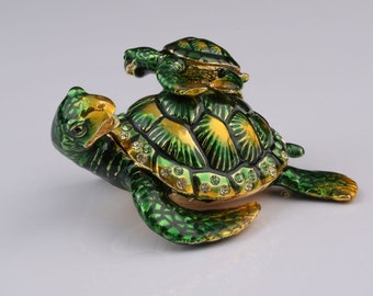 Green Turtle Mother and Son Faberge Style Trinket Box Decorated with Swarovski Crystals Handmade by Keren Kopal