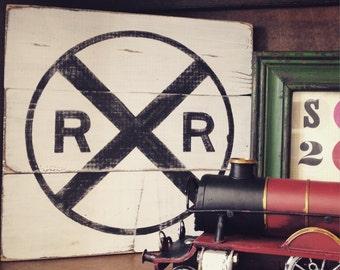 Railroad crossing vintage wood sign