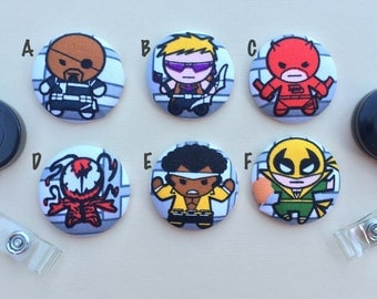 Retractable Badge Holder - Fabric Covered Button - Marvel Kawaii