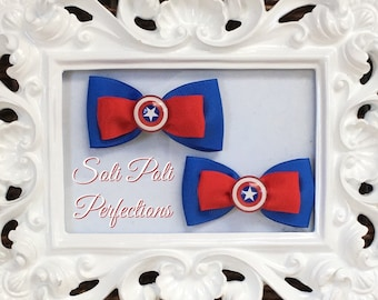 Inspired by- Captain America Hair Bow, Captain America Pigtail Bows, Red White and Blue Pigtail Bows, Hair Bow, Set of Bows