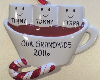 Marshmallows & Hot Chocolate Family Personalized Christmas Ornaments