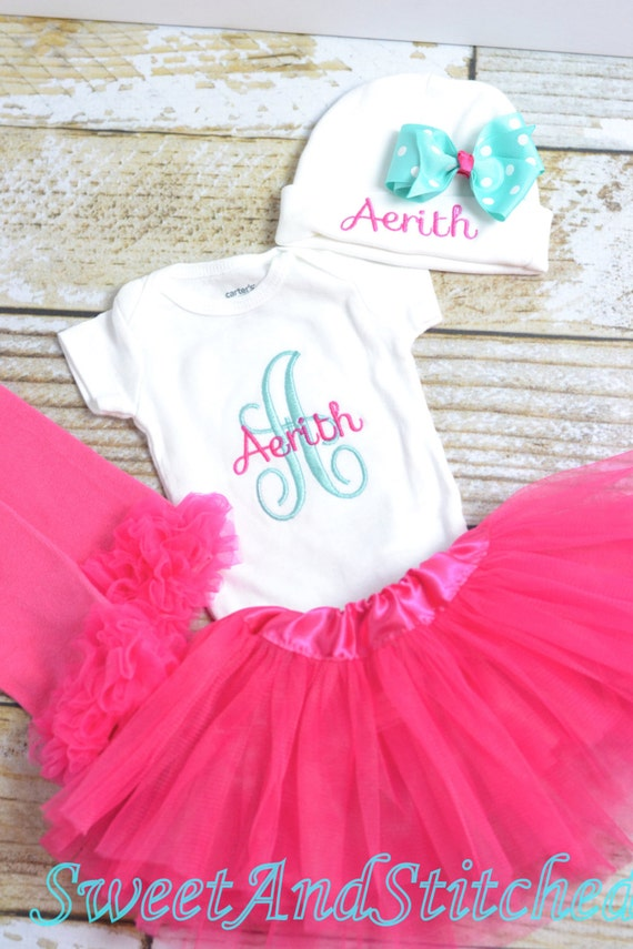 Personalized newborn gown or bodysuit, baby girl take home hospital outfit pink and aqua, newborn hat with name, monogram baby girl outfit,