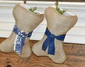 DOG CHRISTMAS STOCKING Set of 2 Pick your Color Personalized Name Tag Beautiful Natural Burlap - Shabby Chic Doggie Christmas