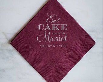 "Personalized ""Eat Cake"" Table Napkins"