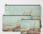 Vintage Seaside Photo Carry All Zipper Pouch, pencil case, cosmetic bag, organizer, Gift for her,  coastal photograph, aqua, mint, browns