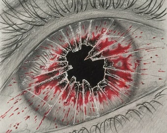 Eye drawing , colored pencil eye drawing ,original drawing , wall decor