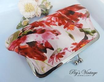 Vintage Floral Silk Clutch Purse / Pink Floral Silk Satin Purse