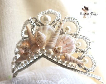 Beach wedding - Mermaid Crowns - shell crown - pearl wedding tiara - Beach wedding headband - seashell tiara - seashell headband - crowns