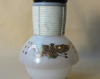 Vintage Coffee Carafe ~ McKee ~ Hottle ~ Glasbake ~ Milk Glass ~ 1940's ~ Americana ~ Gold American Eagle ~ Tea ~ Coffee ~ Restaurant Ware