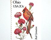 10 Unused Ohio Vintage Postage Stamps // Cardinal & Red Carnation // Ohio State Bird and State Flower