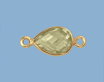 1ea. Small 10x7mm Lemon Topaz and Vermeil Pear Bezel Connector Link 24k Gold Over Sterling Silver Birthston
